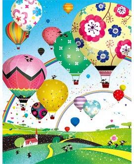 熱気球の絵画、空の絵