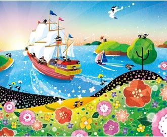 朝日の絵画インテリア、帆船の絵、船、出航