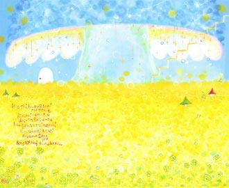 玄関に飾る風水インテリア、黄色の明るい花の絵