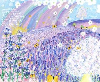 ラベンダー畑の絵画