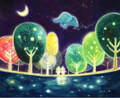 紺色の絵画、森の絵、癒しの絵画