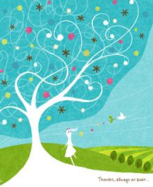 ブルーの絵、木の絵、幸せの鳥、北欧の部屋に飾る絵、Kellie(けり)の絵画