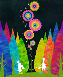 花の絵画、癒しの絵画、うさぎ、女の子