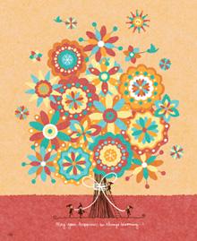 花の絵画、オレンジの絵、優しい幸せな雰囲気、Kellie(けり)の絵画