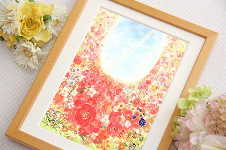 花畑の絵画、ピンク・赤