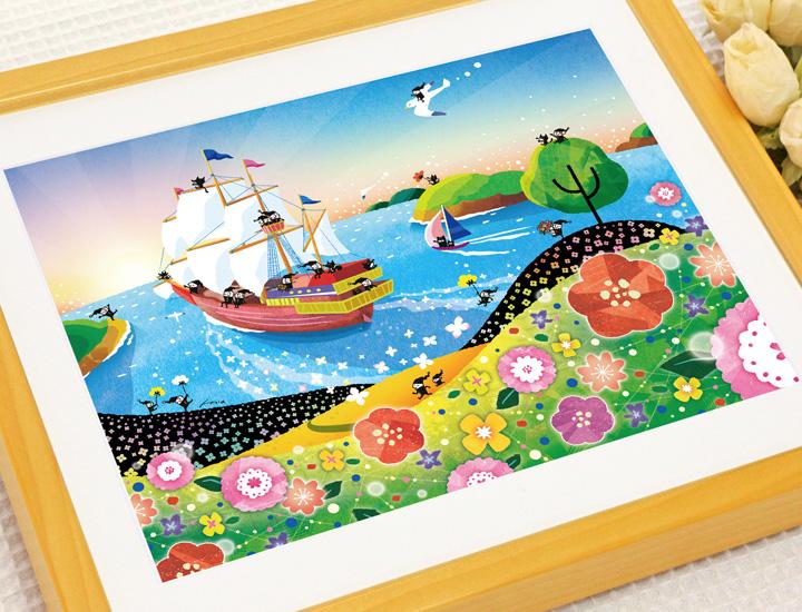 空の絵画、気球の絵、人気のイラストレーター、ヒヂリンゴ・聖(さやか)