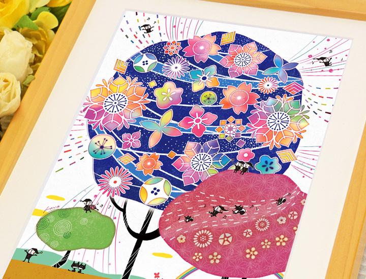 伝統色の藍色アート、縁起がいい記念品、喜寿祝い・古希祝い・傘寿祝いのプレゼント