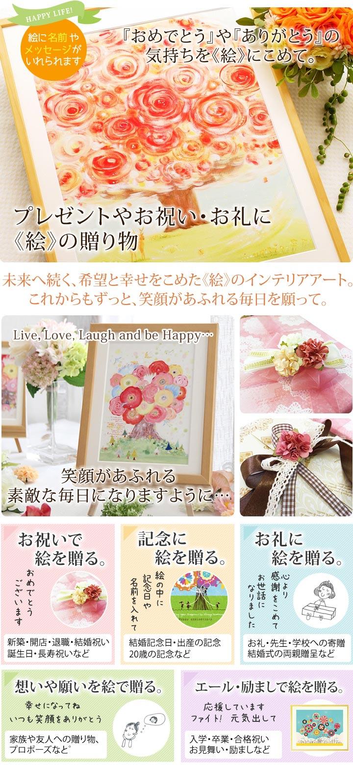 新築祝いプレゼント、母の還暦祝い、記念品、贈り物に名前入れのできる絵画インテリア通販