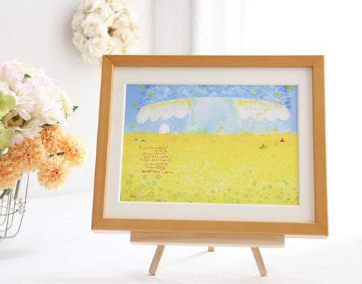 黄色の菜の花畑の絵画インテリア、イーゼルにのせて飾ることも