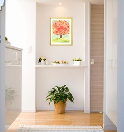 玄関に飾る風水インテリア、絵画、花の絵