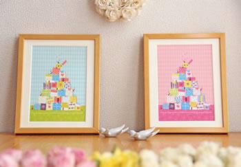 ピンクとブルーの玄関に飾る絵画インテリア