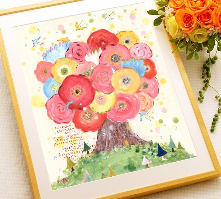 開店祝いのお花の絵アート