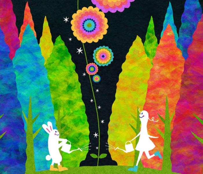 ウサギと女の子が花を育てる絵