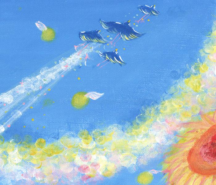 幸せの青い鳥が空へ羽ばたく絵