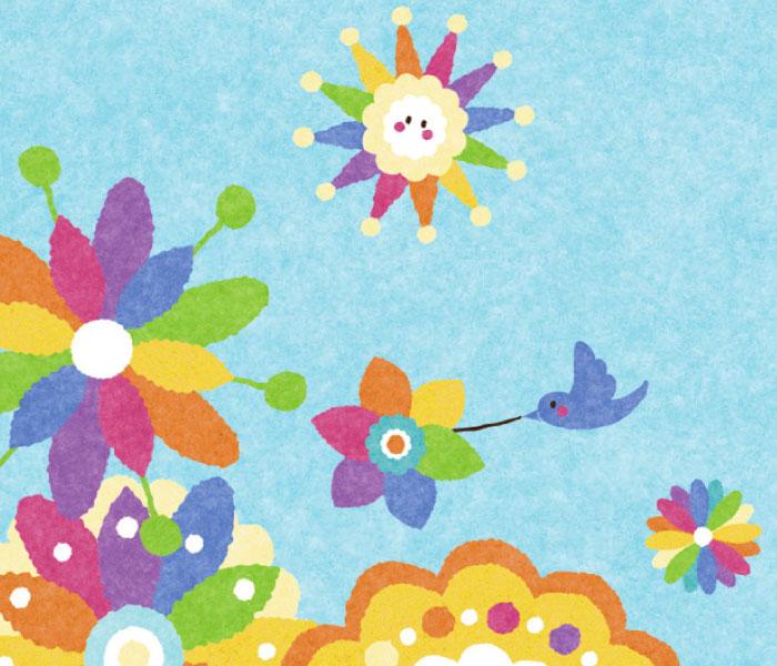 花を運んできてくれる小鳥