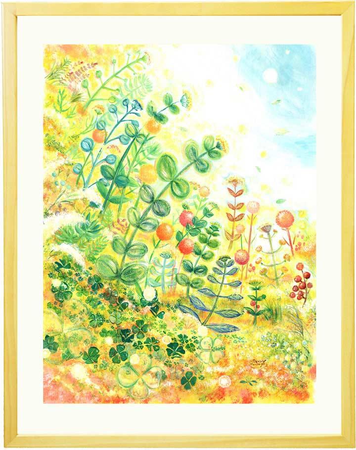 ボタニカルアート、玄関に飾る絵画、グリーン、観葉植物、壁掛け絵画