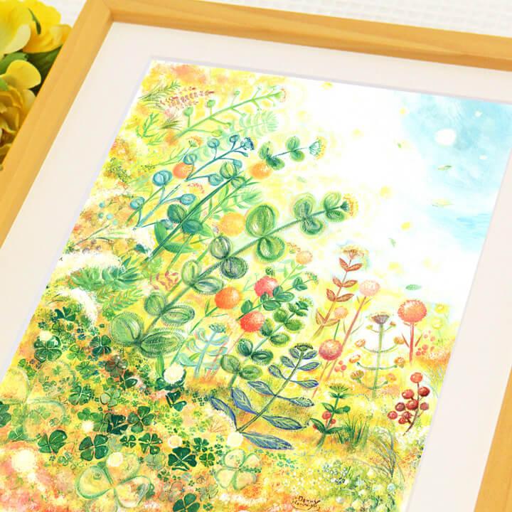癒しの絵画、さわやかな絵画、緑・グリーンの絵、観葉植物の絵