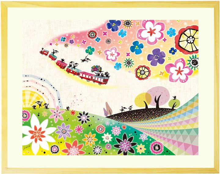 幸せの絵画、ビタミンカラー、卒業祝いプレゼント、入学祝い、誕生日プレゼント、花の絵画インテリア