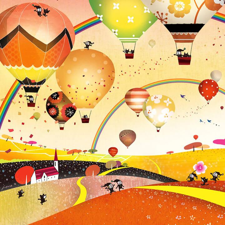 希望の絵、空の絵、未来・希望、熱気球の絵