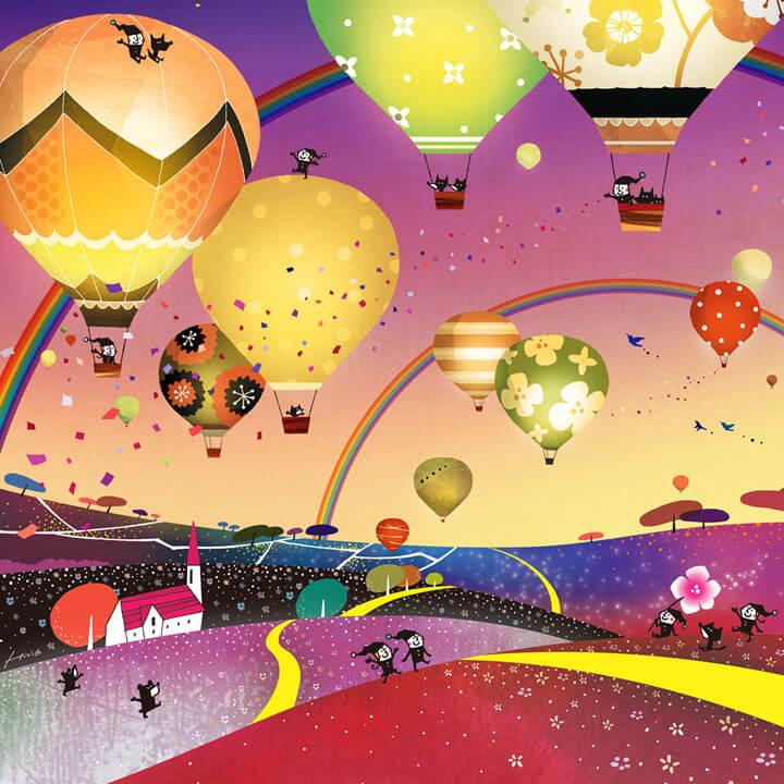 希望の絵、夜空の絵、未来・希望、熱気球の絵、夜景、夜の風景画