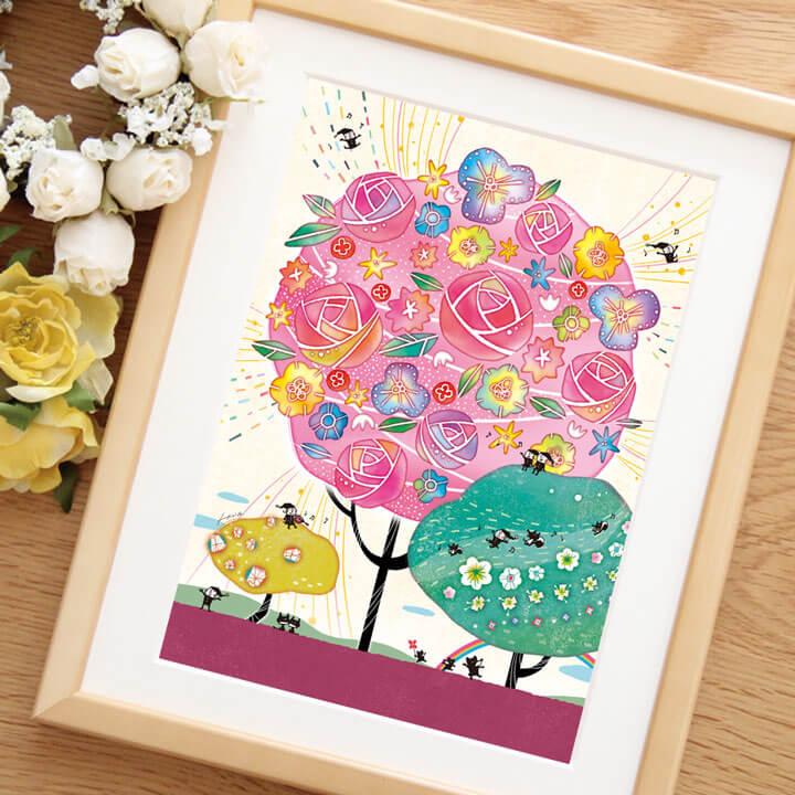 薔薇の絵、かわいいバラの絵画