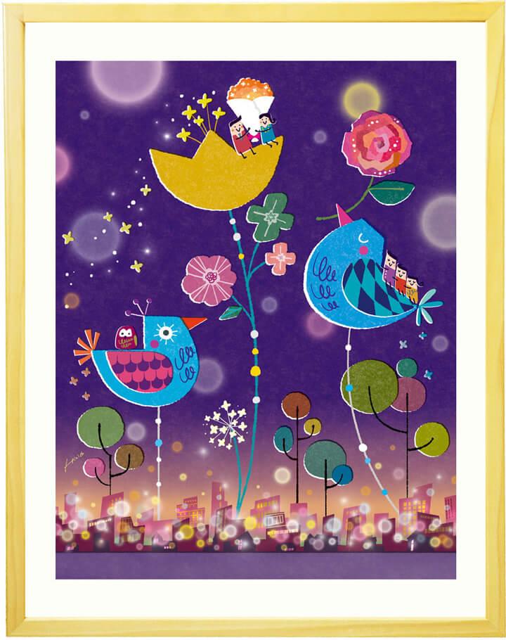 梟(フクロウ)の絵画、喜寿祝い、88歳のお祝い、古希祝い、70歳のお祝い、77歳の誕生日、80歳の誕生日、傘寿祝い、米寿祝い、紫色、紺色