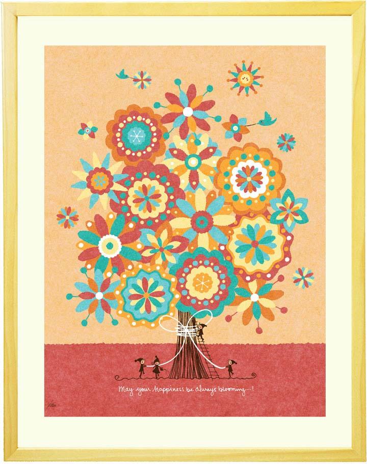 花の絵画、癒される絵、結婚祝いプレゼント、幸せの絵画、感謝の絵、おしゃれな絵画インテリアアート