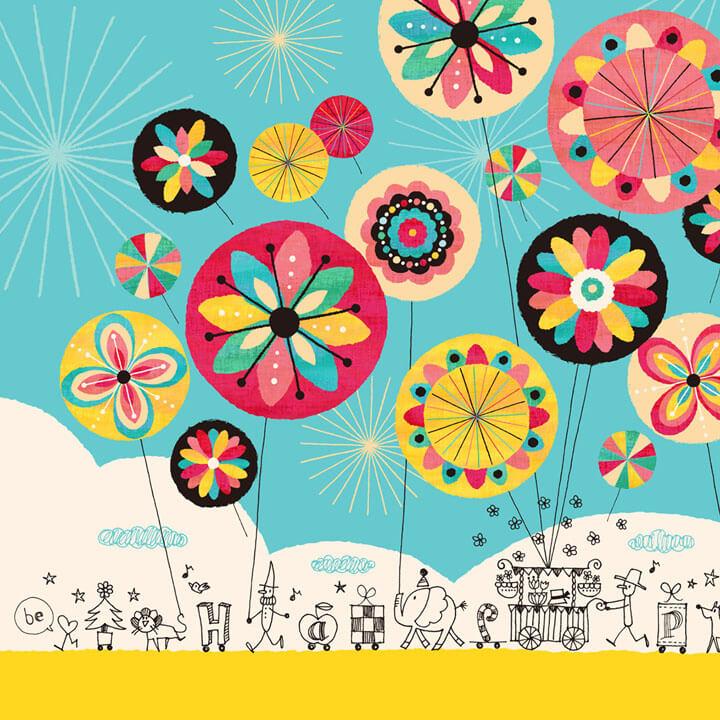 元気が出る絵画、風船、バルーンの絵画、熱気球の絵画、カラフル・ポップ・ポジティブな絵