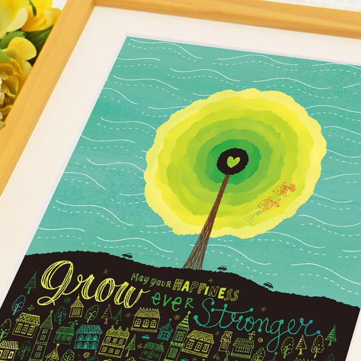 太陽の絵画、タイポグラフィ、アートポスター、花と金魚の絵画